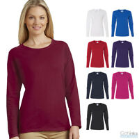 Gildan Women's Heavy Cotton Long Sleeve Tee Plain Crew Neck T-Shirt S-3XL 5400L