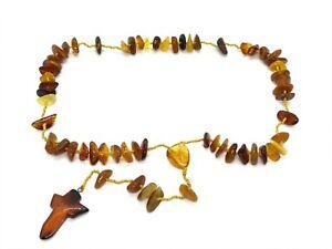 Catholic Prayer Necklace Cross BALTIC AMBER Beads Gift Rosary Unisex 28,2g 15152