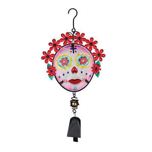 Painted Lady Skull Day of The Dead Hanging Bell NEW door chime pink white glass