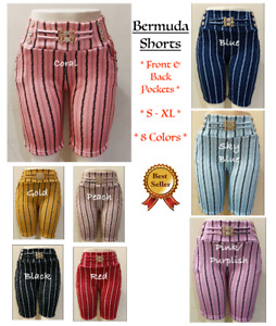Women Stretch Striped Casual Pull-On Bermuda Shorts with Front/Back Pockets 1347