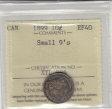1899 Canada 10 Cents Silver Coin - Small 9's - ICCS Graded EF-40