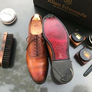 Allen Edmonds Park Avenue 10 D Walnut Cap-Toe Oxfords Custom burnishing+more