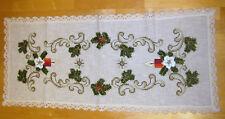Gestickt Weihnachtstischdecke Weihnachten Tischläufer Handarbeit 111 x 48 cm