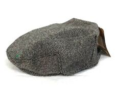 Irish Man of Aran Flat Cap Brown Tweed Wool Herringbone Clover Adjustable