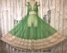 """VTG L XL IRISH GREEN FULL SHEER CHIFFON Nightgown Negligee Gown w 11"""" LACE HEM"""
