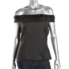 5b4c06fbbcd0cf ADRIANNA PAPELL Womens  139 BLACK Embellished OFF THE SHOULDER TOP SHIRT 2  NWT