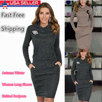 Autumn Winter Casual Women's Long Sleeve Knitted Bodycon Sweater Lady Long Dress