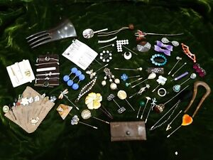 Vintage hat, hair and tie pins job lot lovely unusual collection