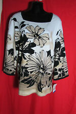 4aa611841 Top/Blouse Cream/Black/Floral/Sequin NWT Size 18 Alfred Dunner Design