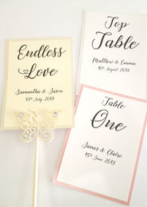 NEW 2019 Personalised Wedding table numbers / names white / ivory *more colours