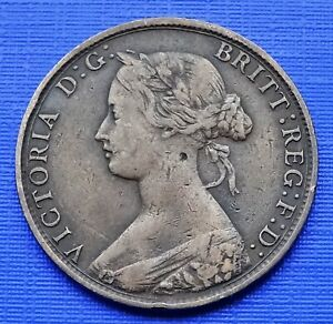 Great Britain 1/2 Penny Coin~1861 Queen Victoria~KM#748.2~Bronze 5.7g~VF~X264
