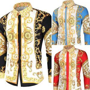 Mens baroque shirts, slim skinny Italian designer style formal button collar