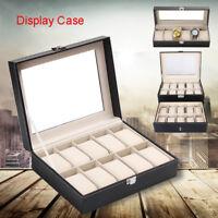 6/10/20/24 Grids Watch Display Case PU Leather Storage Box Jewelry Organizer