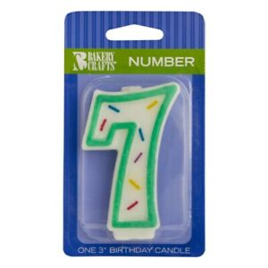 """Green Sprinkle Number Seven Candle, 3.15"""" x 1.7"""" x 0.6"""""""