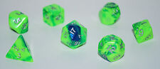 Dungeons & Dragons Fantasy 16mm 7 Piece Dice Set: Toxic Green/Blue      CC