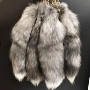 "10pcs 16"" 40cm Silver Blue Real Fox Tail Fur Keyring Bag Charm Cosplay Pendant"