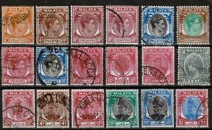 MALAYA KGVI 1948 - 52 Collection x18 STAMPS to $5