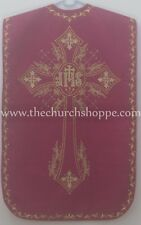Dark Rose  Roman Chasuble Fiddleback Vestment & mass set IHS embroidery NEW