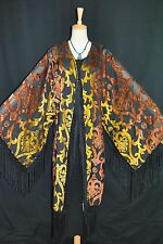 Art to Orange Black Flower Burnout Velvet Fringe Hippie Gypsy Kimono Opera Coat