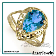 14k Solid Yellow Gold Pear Cut Blue Topaz Ring
