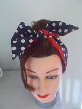 HEAD SCARF HAIR BAND NAVY BLUE RED  POLKA DOT SPOTS BUNNY TIE BOW  ROCKABILLY