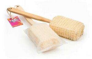 Sisal Brush Long Handled Wooden Loofah Back Scrubber Spa Body Sponge Shower Bath