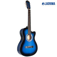 """38"""" Electric Acoustic Guitar Cutaway Design With Guitar Case, Strap, Tuner Blue"""