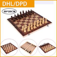 Fachmann Schach Schachbrett klappbares Schachspiel Schachfiguren Holz 39*39CM DE
