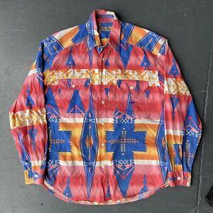Vintage El Charro Western Crazy Featival Shirt Size L