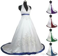 Plus2-28 Gothic Halter Ball Gown Wedding Dress Vintage V-Neck ALine Bridal Gown