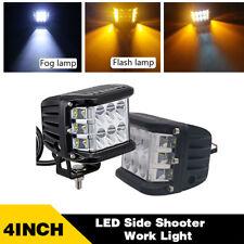 2x 4 Inch LED Work Light Bar Pod White & Amber Strobe Lamp For ATV SUV Truck 4X4