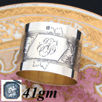 Antique French Sterling Silver Napkin Ring, Floral Decoration, Interlaced Monogr