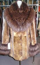Gorgeous Genuine Shearling Fur Coat Tanuki Fur Collar Cuffs Leather Detail