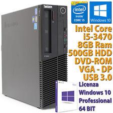 PC COMPUTER DESKTOP RICONDIZIONATO LENOVO M92P CORE i5-3470 8GB HDD 500GB WIN 10