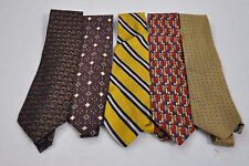 Lot of 5 Men's Neck Classic Ties Multi Colored Wear To Work All 100% Silk 3