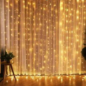 300 LED Curtain Fairy Lights String Hanging Wall Lights Wedding Party Lamp Decor
