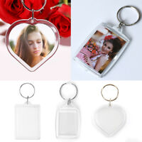 100pcs Blank Keyring Acrylic Plastic Passport Photo Key Rings Craft Picture UK