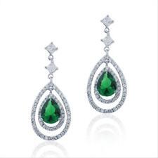 925 Silver 4&1/2ct Lab Created Green Quartz & CZ Triple Teardrop Dangle Earrings