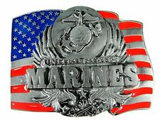 Belt Buckle US Marines Logo On US Flag Enameled Made in USA By Siskiyou
