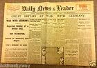 1914 World War I Outbreak Newspaper Britain Declares War Nazi Germany II Antique