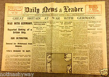1914 World War I Outbreak Newspaper Britain Declares War on Germany II Antique