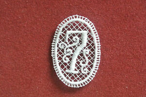 Number 7/seven - sew-on lace motif/applique/patch/craft/card making