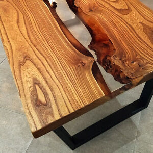 Live Edge Coffe Table with Epoxy River - Wood Natural Oak Wooden Handmade Resin