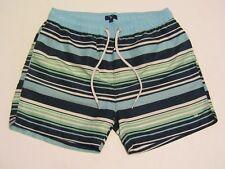 Gant Men's Large Blue, White & Green Striped Swim Trunks with Back Pocket