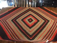 "Vintage Afghan GRANNY Handmade Crochet Quilt Throw Blanket 60""x60"" LARGE square"