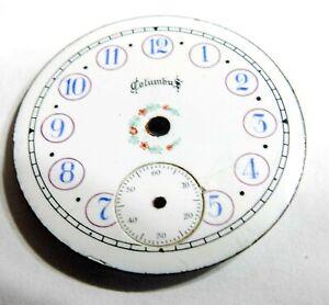 SCARCE - FANCY - 6S - COLUMBUS SS ENAMEL POCKET WATCH DIAL (B5)