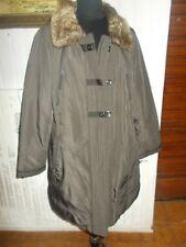 Veste manteau parka chaude marron MARK ADAM col fourrure 48D 50FR zip et boutons