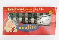 VTG USALITE Christmas Lights 7 Socket C7 String USA LITE Red Green Bulbs w/ Box