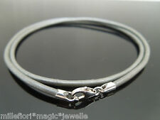 """2mm Metallic Grey Leather & Sterling Silver Necklace Or Wristband 16"""" 18"""" 20"""" 22"""