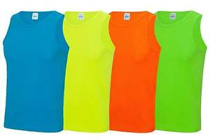 Mens Cool Sports Vest S-2XL Workout Gym Exercise Fitness Neon Fluorescent Top